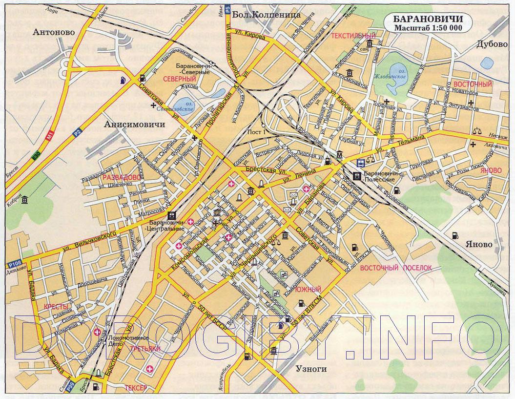 Карта Барановичей