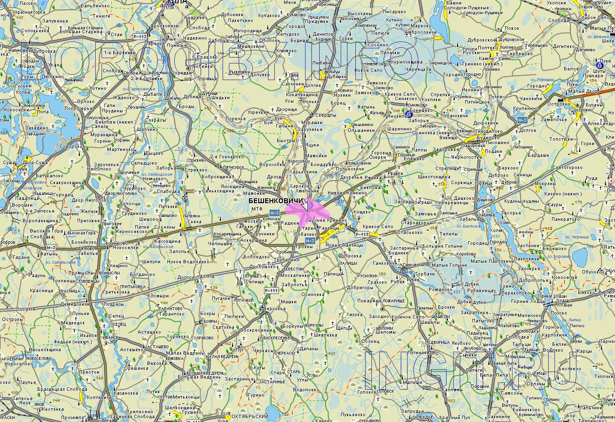 Карта Бешенковичского района