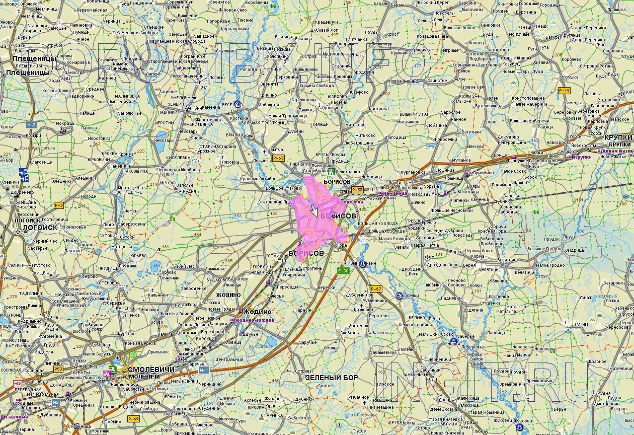 План карта проезда к городу борисово