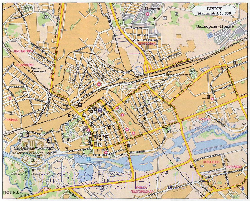 Map of Brest Cities of Belarus