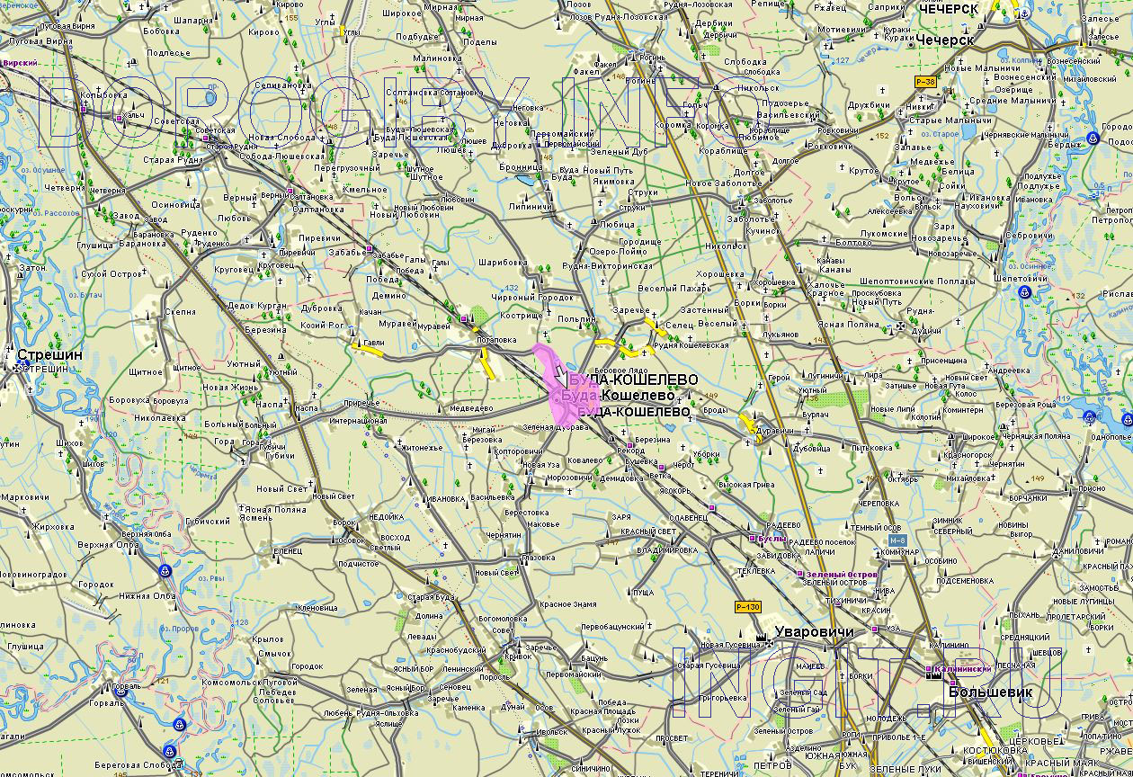 Карта Буда-Кошелёвского района