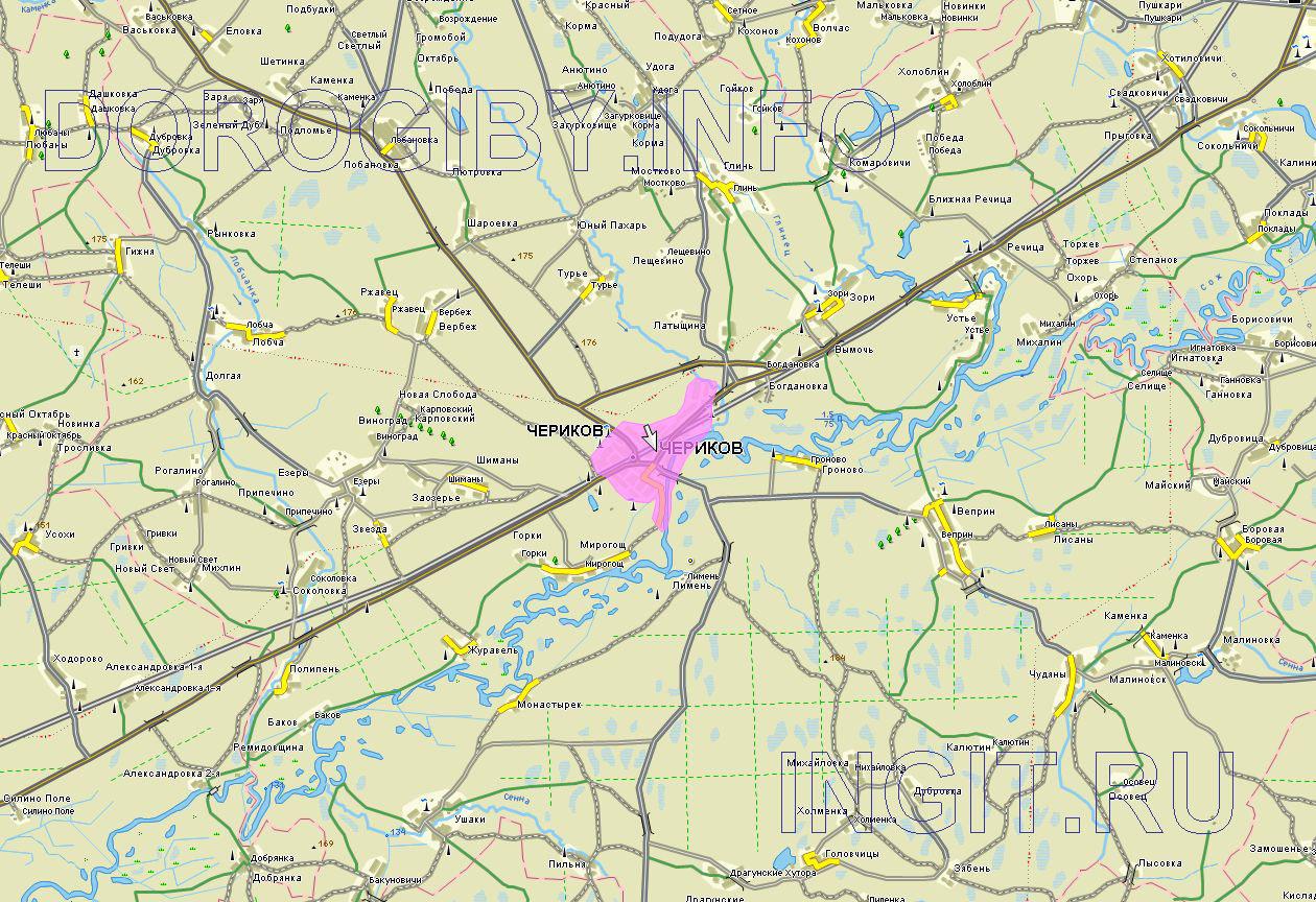 Карта Чериковского района
