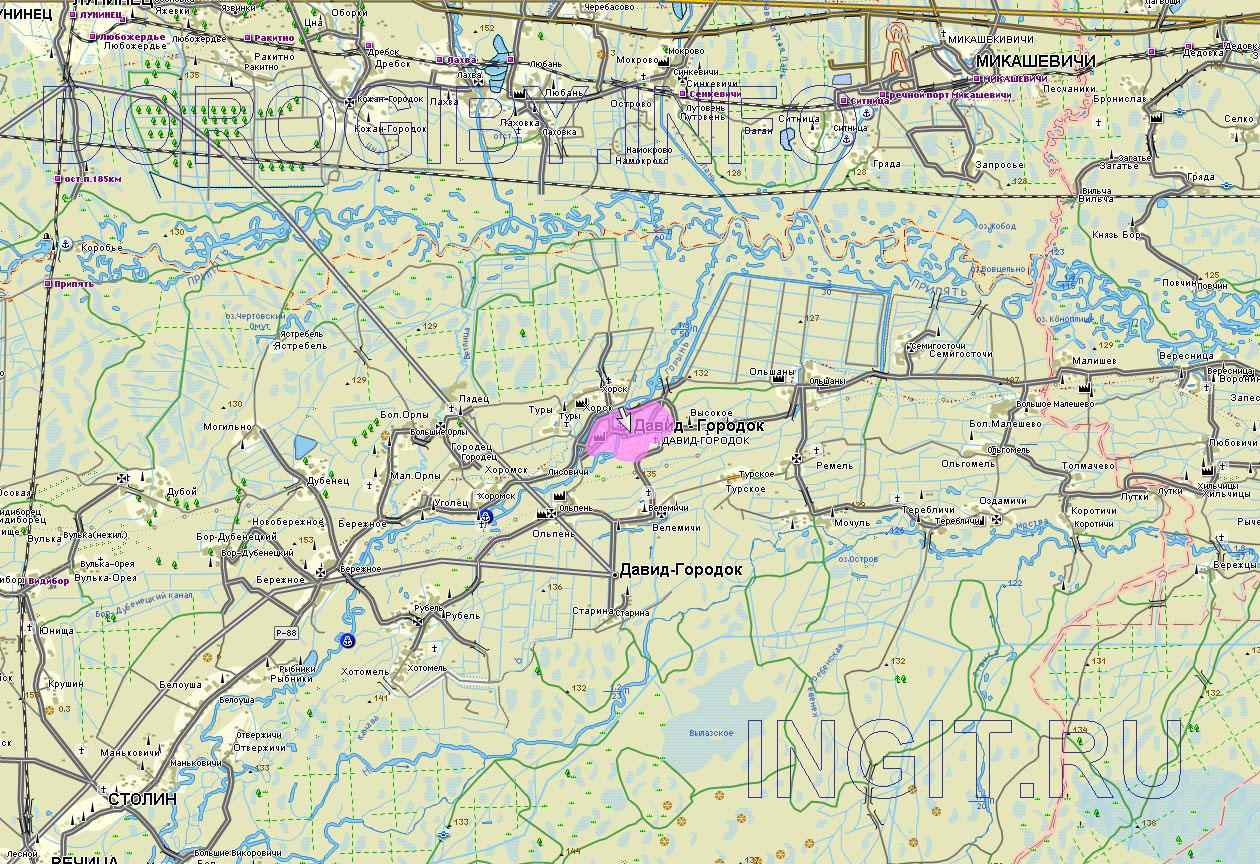 Карта окрестностей Давид-Городка