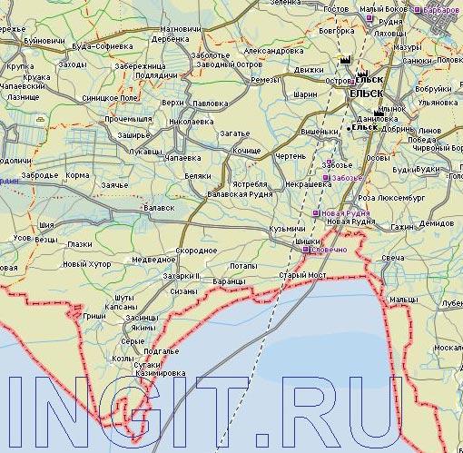 Карта Ельского района