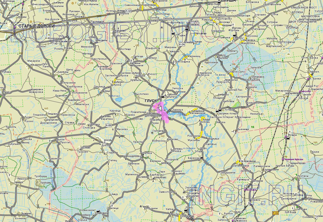 Карта Глусского района