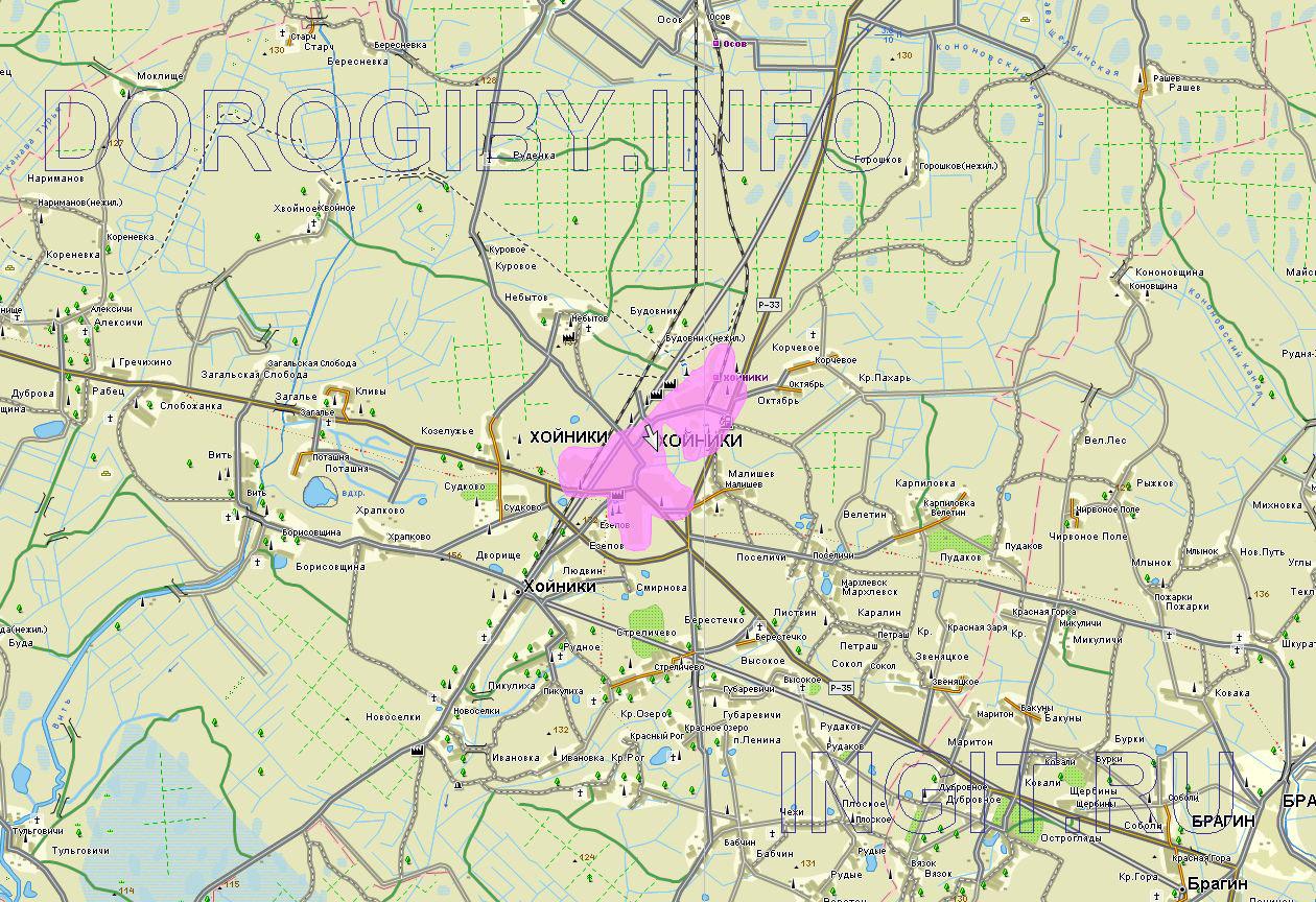 Карта Хойникского района