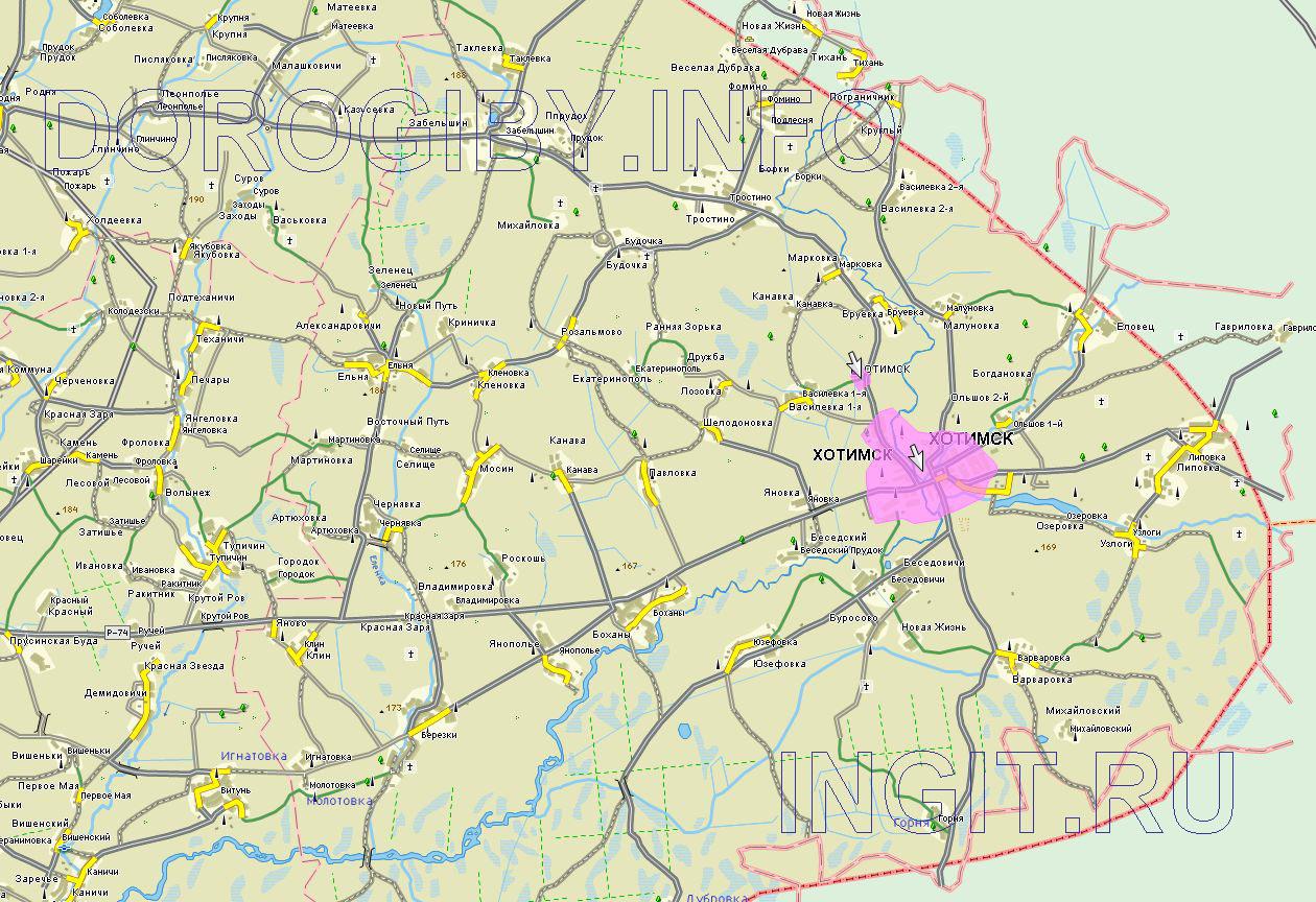 Карта Хотимского района