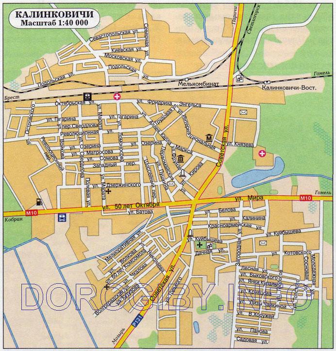 Карта Калинковичей