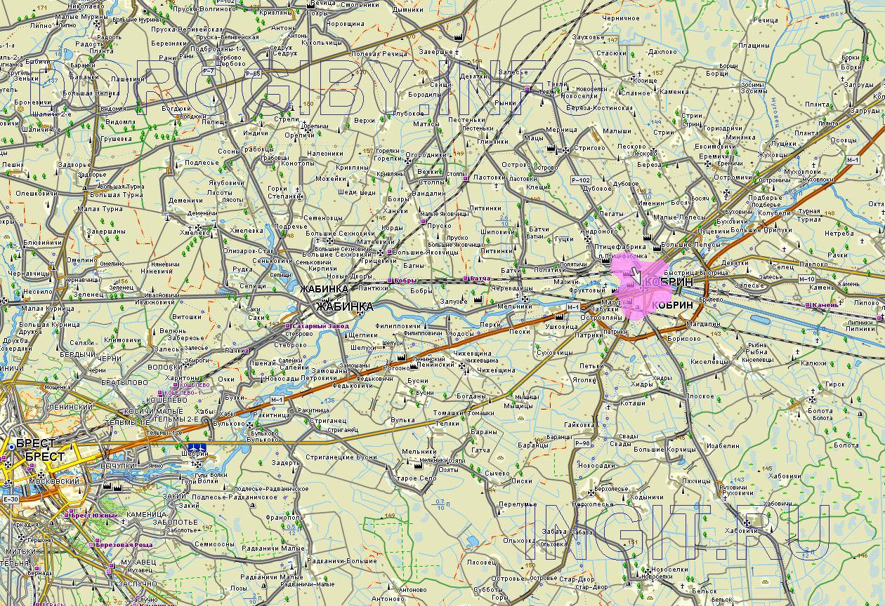 Карта Кобринского района