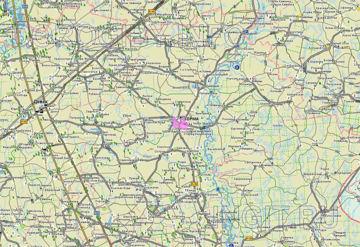 Карта Кормянского района