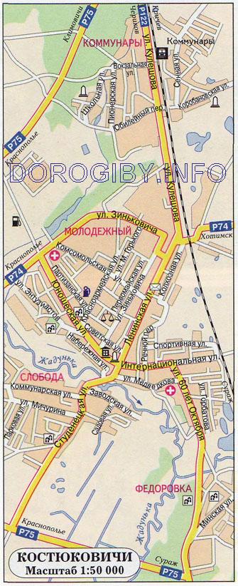 Карта Костюковичей