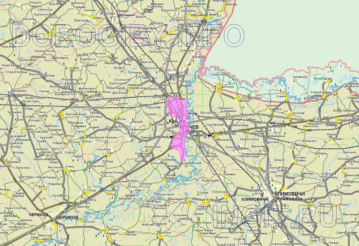 Карта Кричевского района