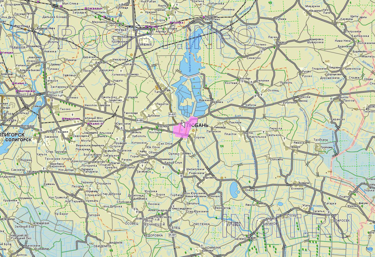 Карта Любанского района