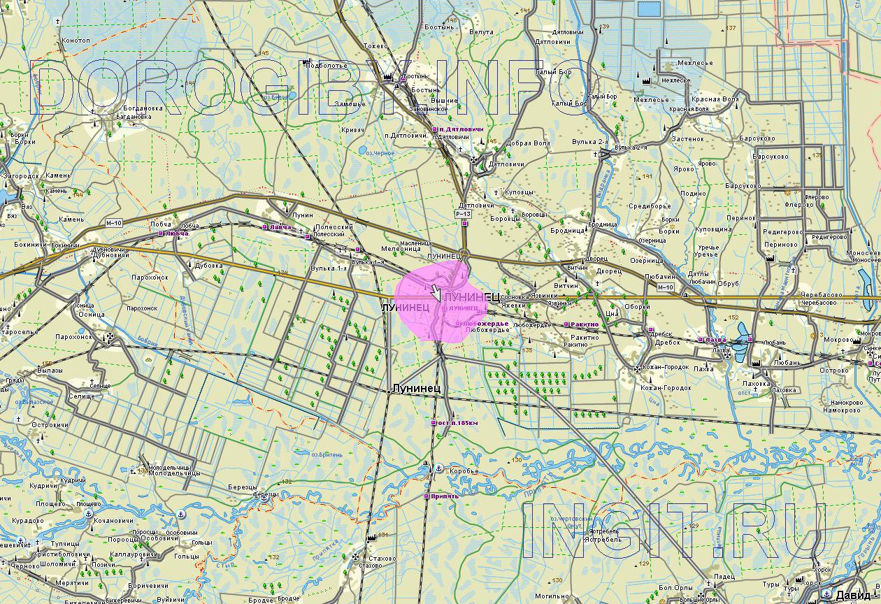 Карта Лунинецкого района