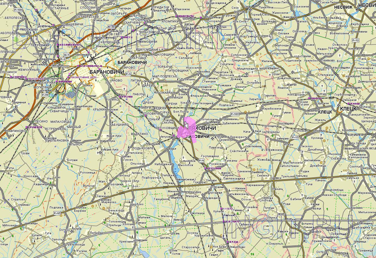 Карта Ляховичского района