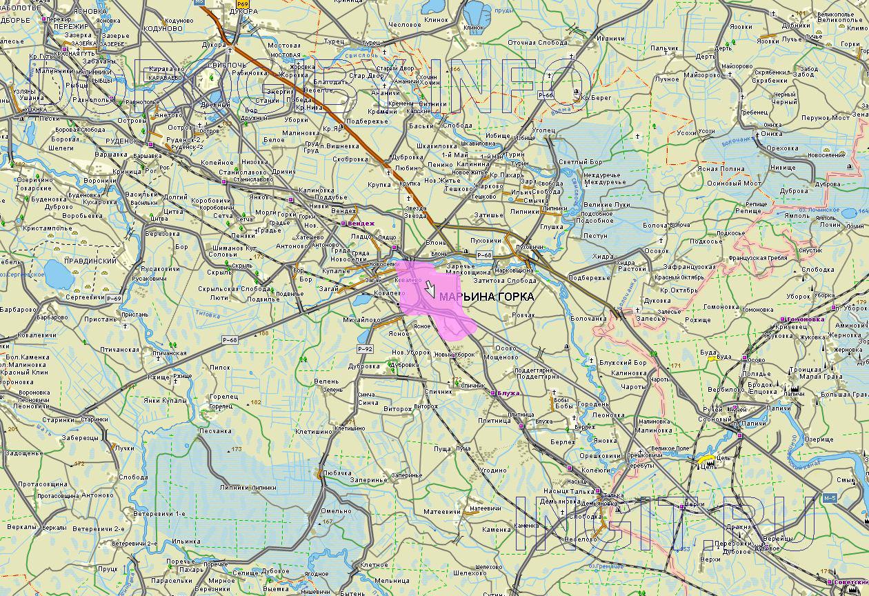Карта Пуховичского района