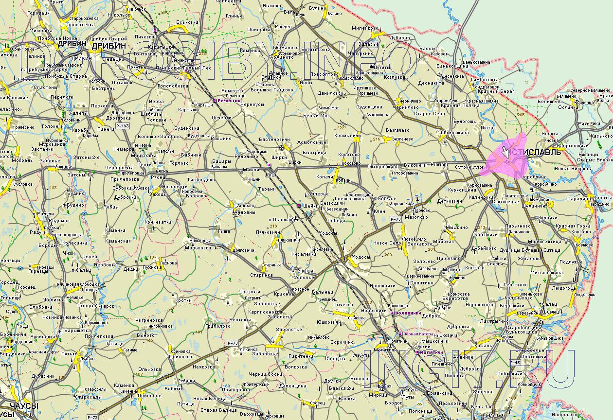 Карта Мстиславского района