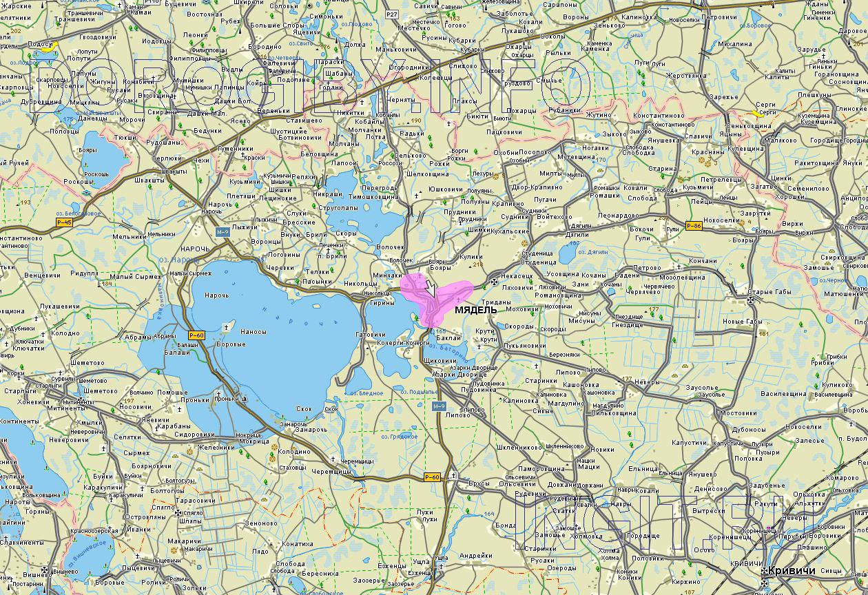 Карта Мядельского района