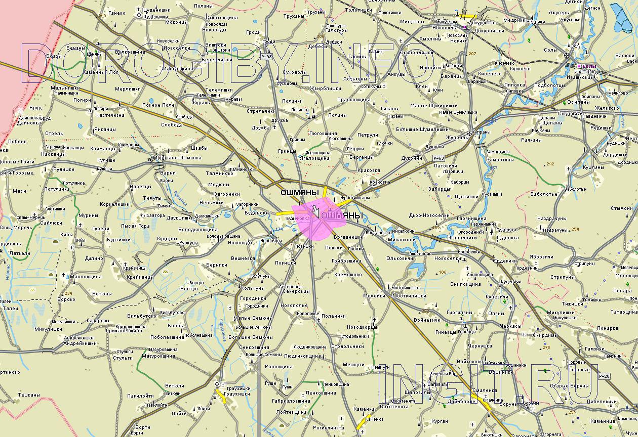 Карта Ошмянского района