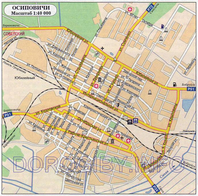 Карта Осиповичей
