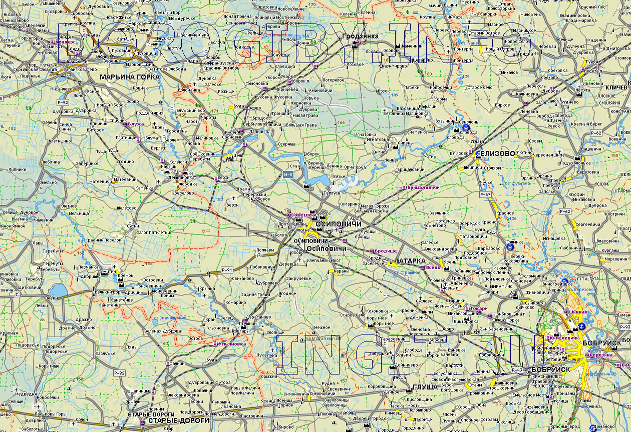 Карта Осиповичского района