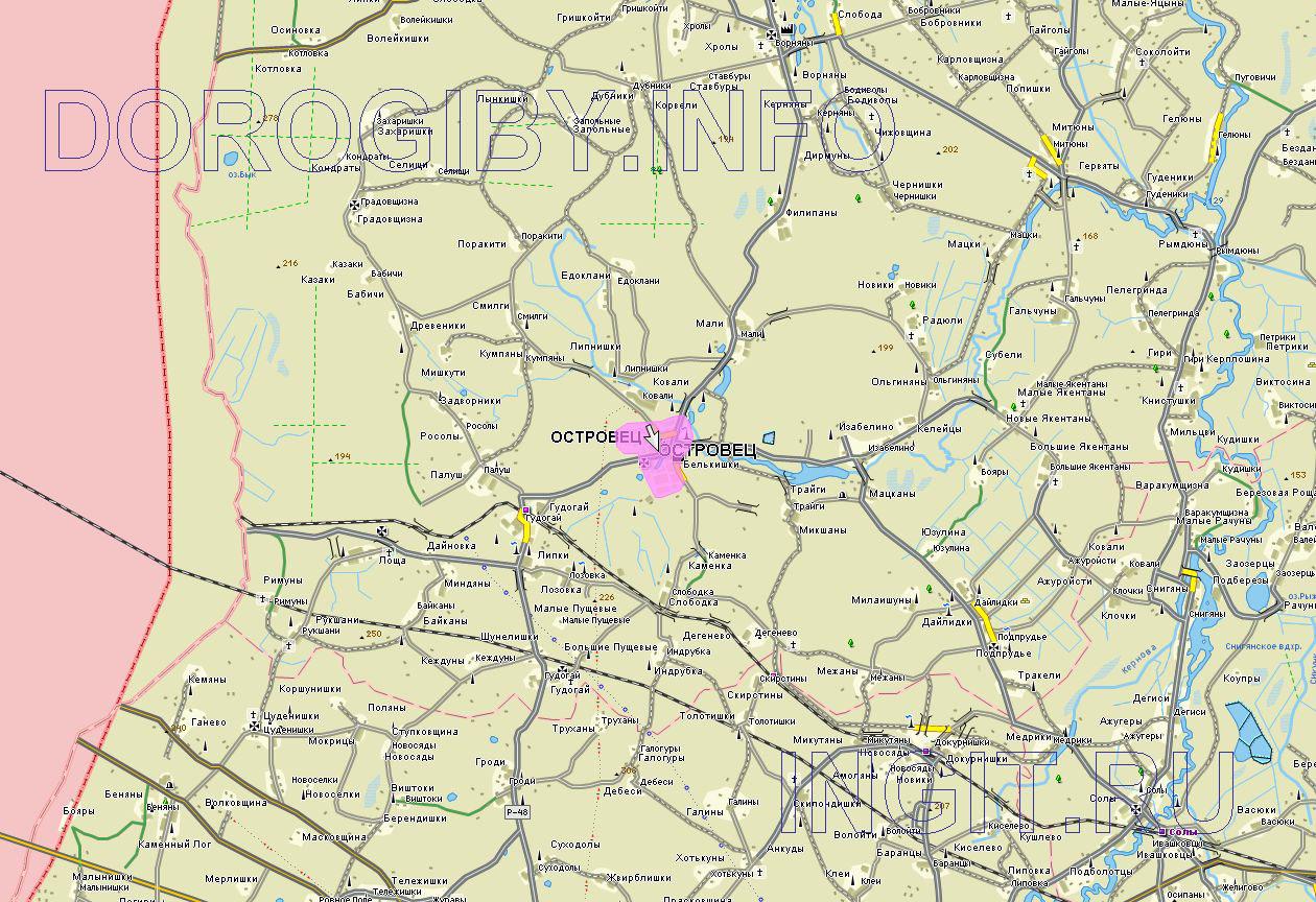 Карта Островецкого района