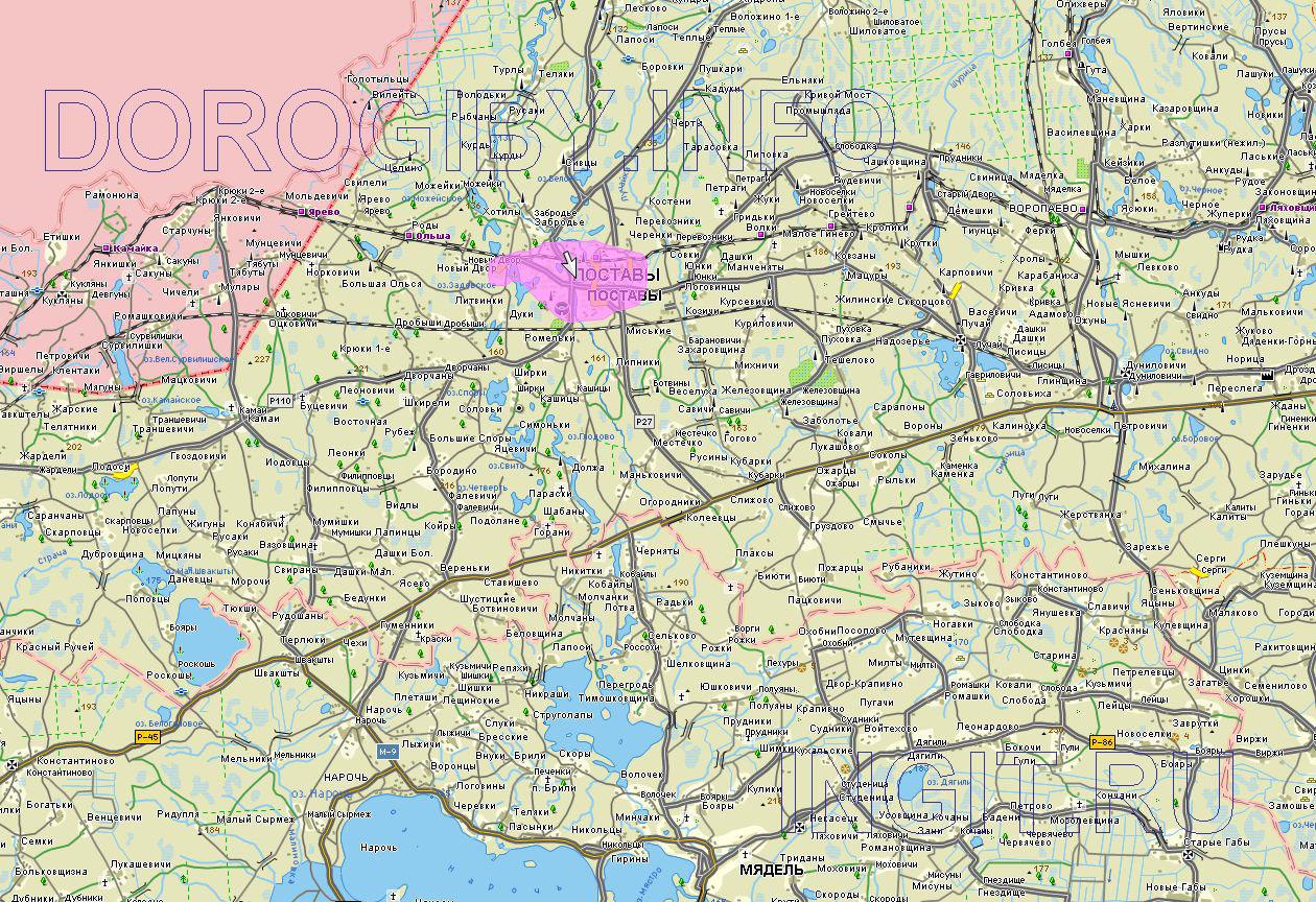 Карта Поставского района