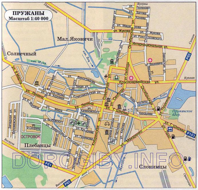 Карта г. Пружаны со спутника. Google). Карта Пружанского района.