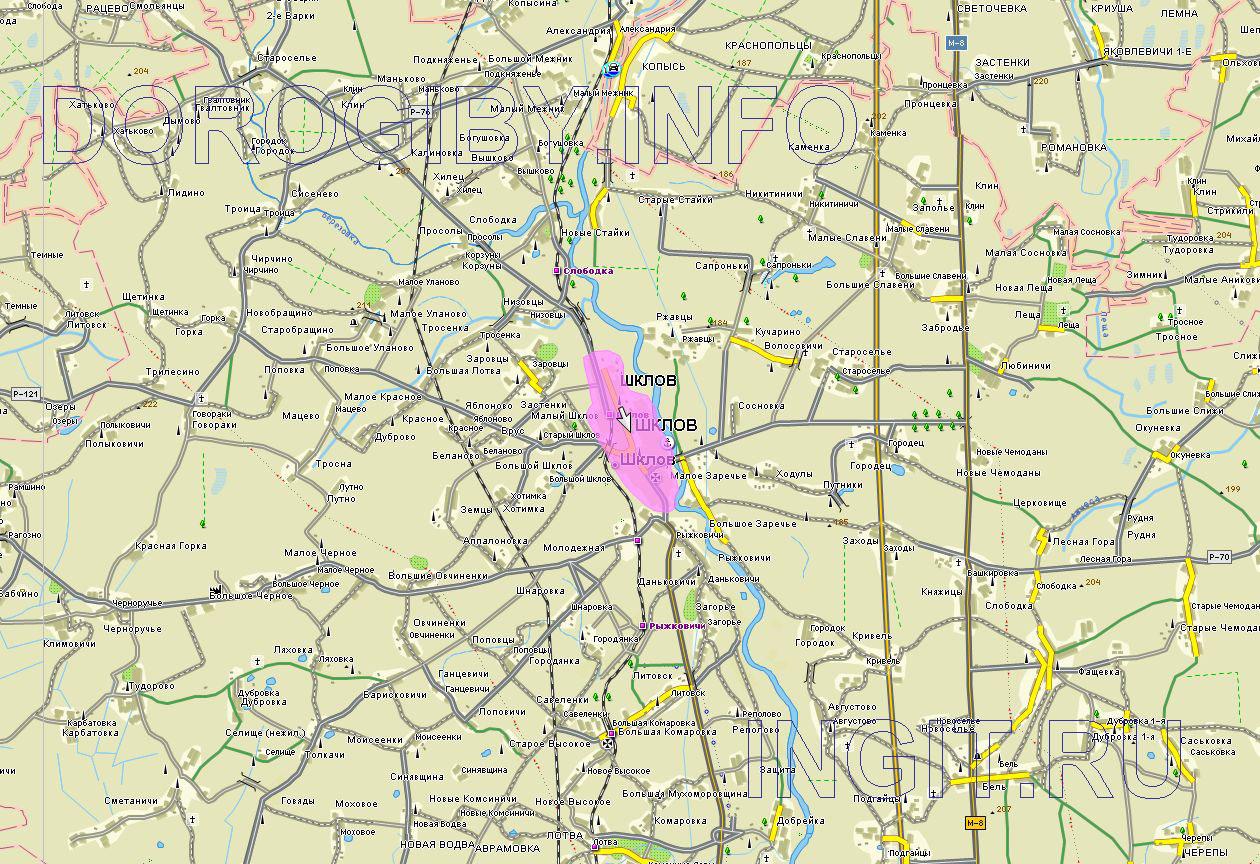 Карта Шкловского района