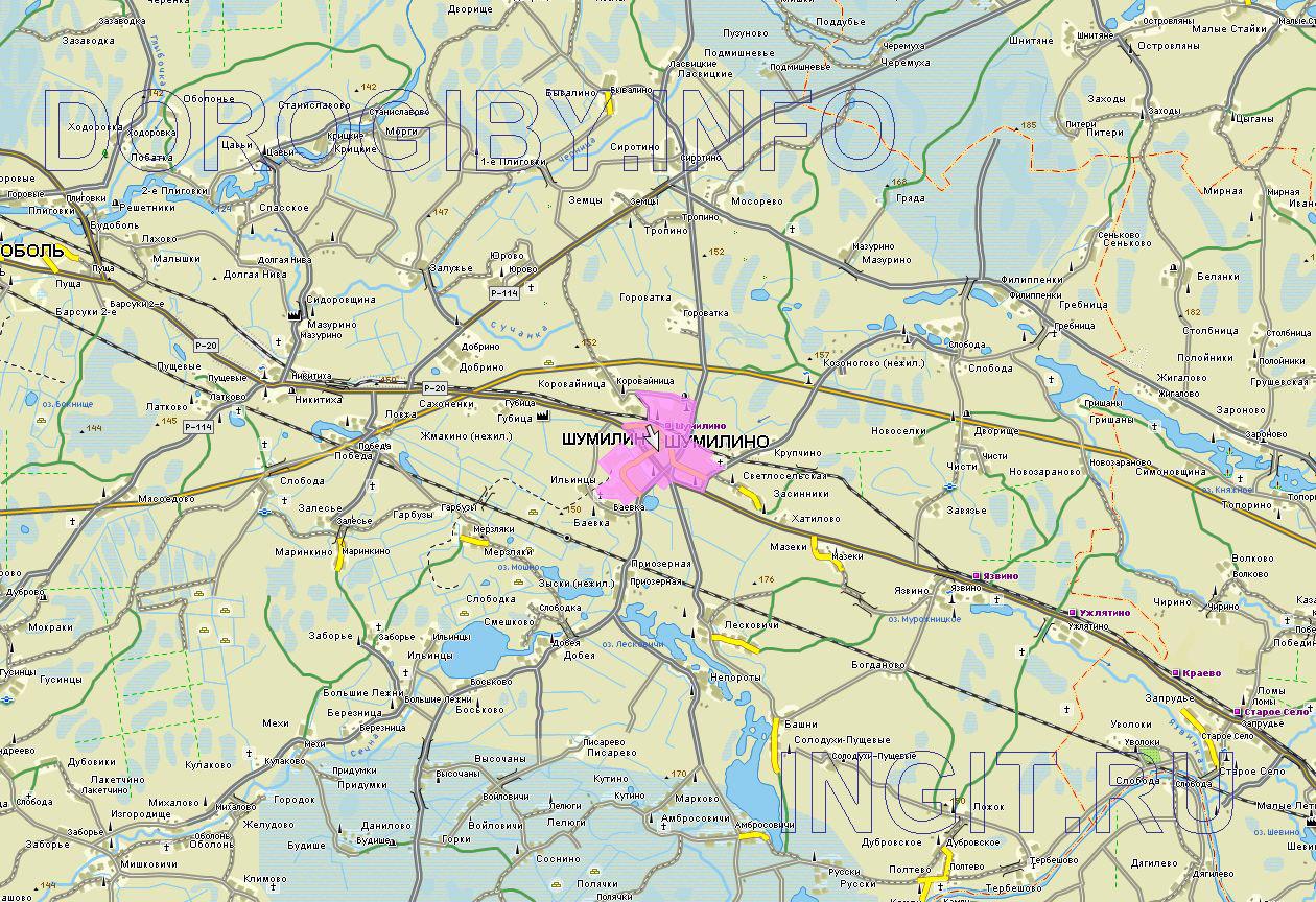 Карта Шумилинского района
