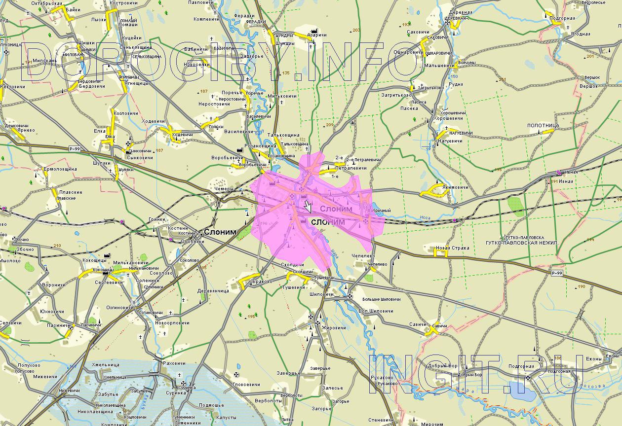 Карта Слонимского района