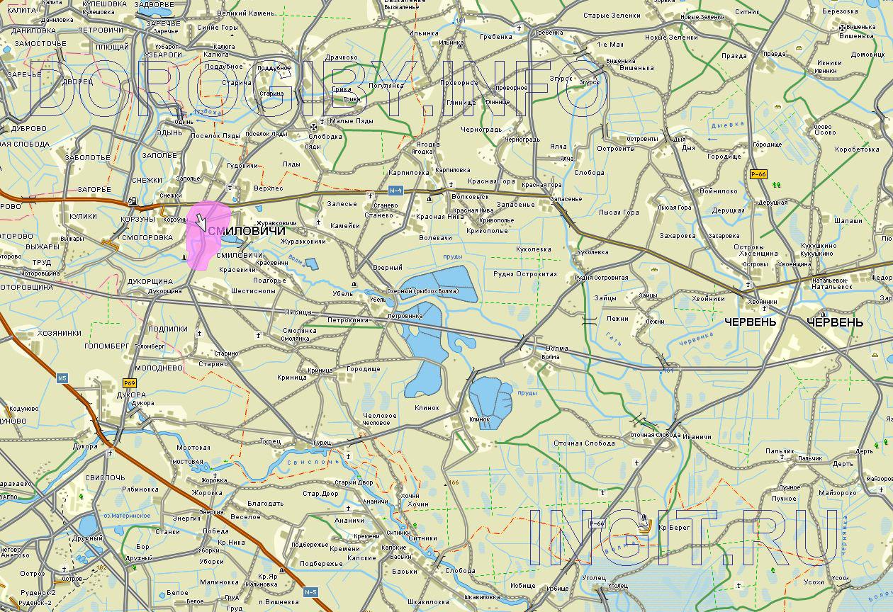 Карта окрестностей Смиловичей