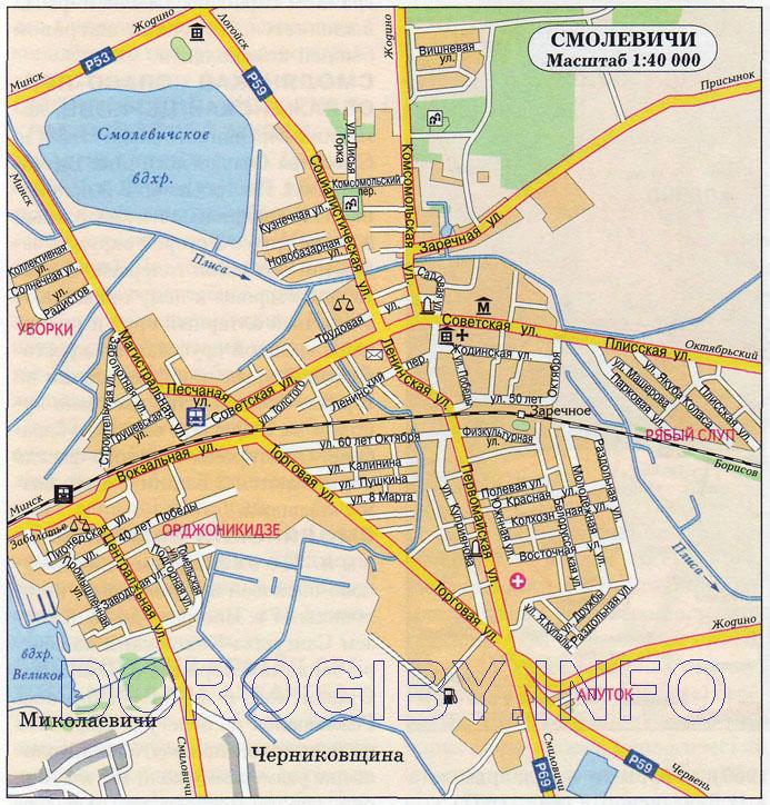 Карта Смолевичей