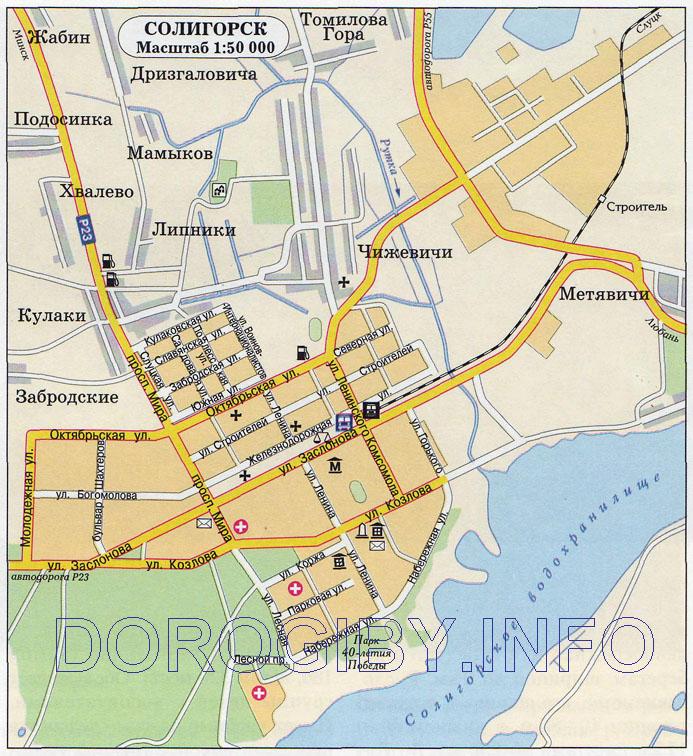 Карта Солигорска