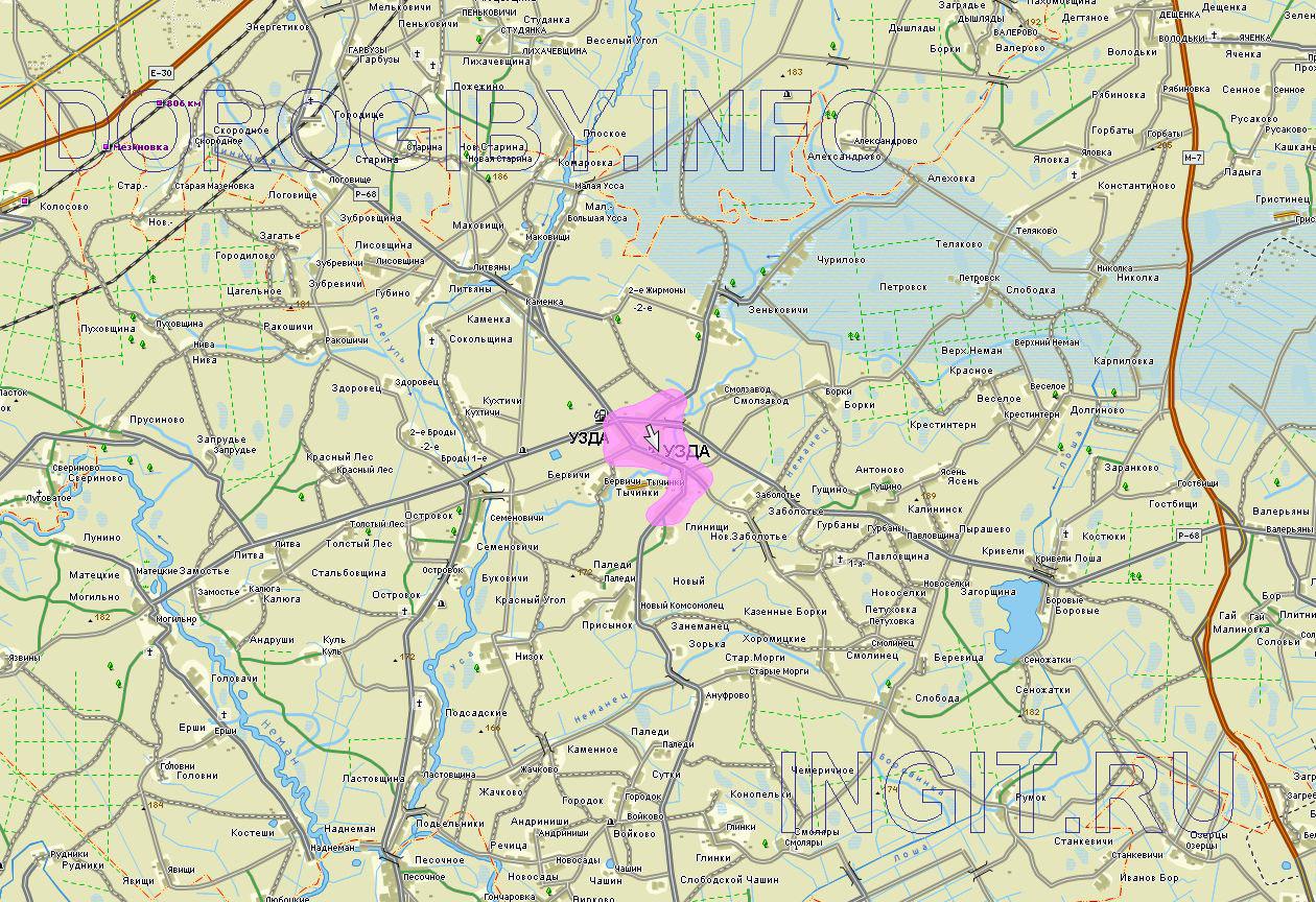 Карта Узденского района