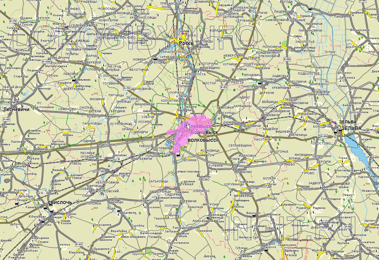 Карта Волковысского района