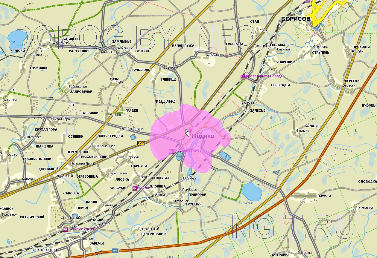 Карта окрестностей Жодино